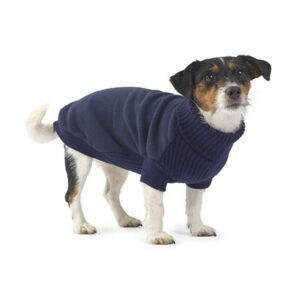 House of Paws Fleece and Knit Dog Jumper Navy with model