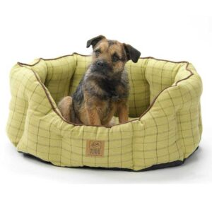 House of Paws Green Oval Tweed Snuggle Bed