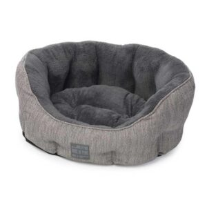 House of Paws Grey Hessian Oval Dog Bed
