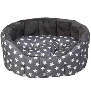 House of Paws Grey Star Print Oval Plush Bed