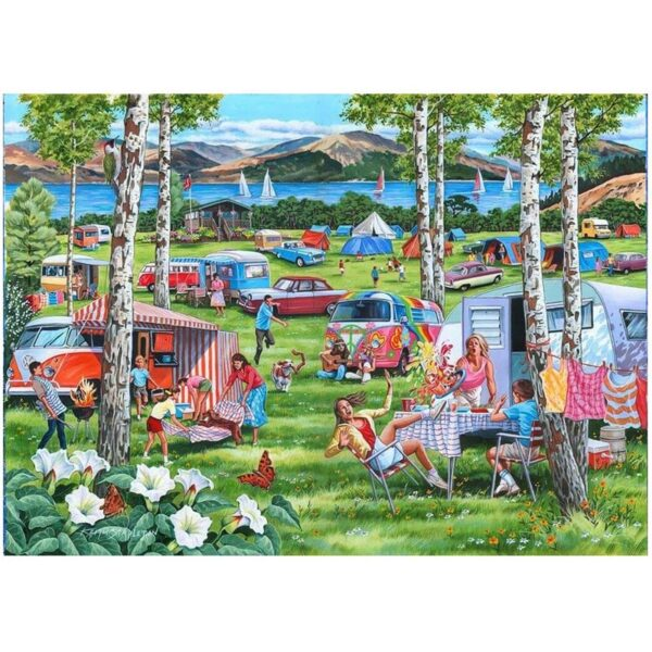 House of Puzzles Camping Chaos Big 500pc Jigsaw Puzzle Image