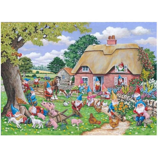 House of Puzzles Gnome Farm Big 500pc Jigsaw Puzzle Image