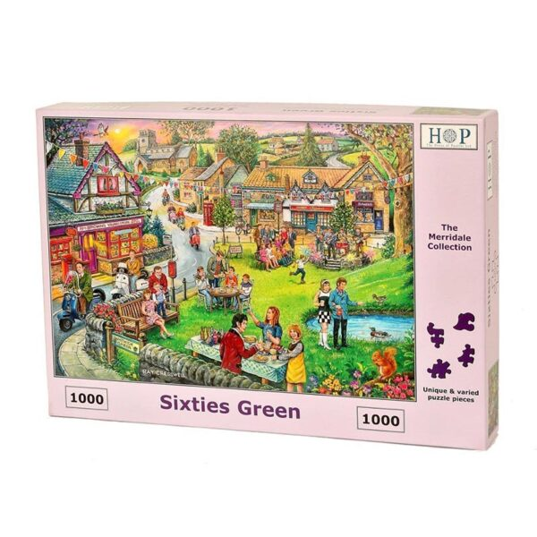 House of puzzles sixties green jigsaw puzzle 2