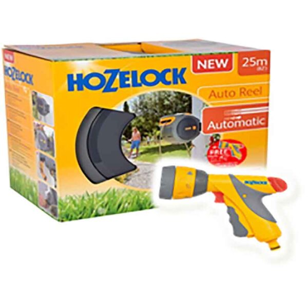 Hozelock Auto Reel with hose (25m) + FREE Multi Spray Plus with 6 settings