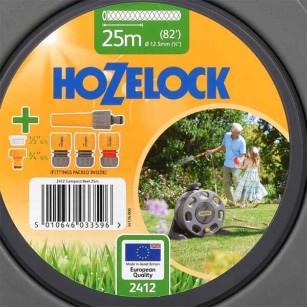 Hozelock Free Standing Hose Reel Set with 25m hose pack detail