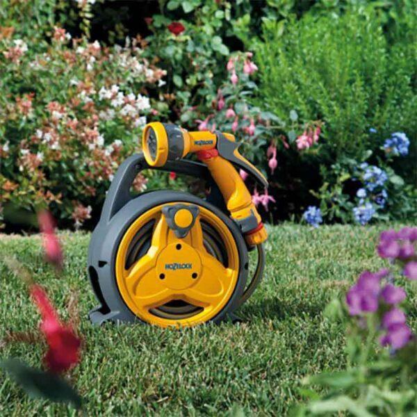 Hozelock Pico Reel with 10m Hose, fittings & Multi Spray Gun in the garden
