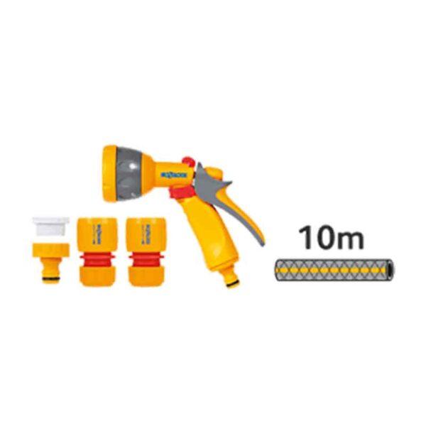 Hozelock Pico Reel with 10m Hose, fittings & Multi Spray Gun kit