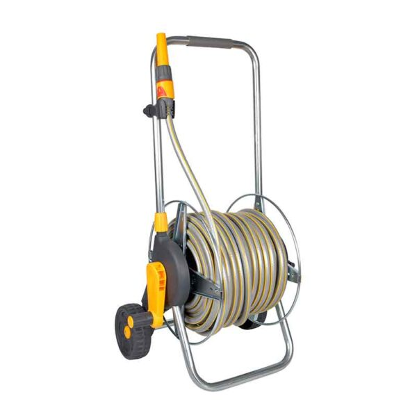 Hozelock Premium Assembled Metal Cart (50m) with hose, nozzle & fittings