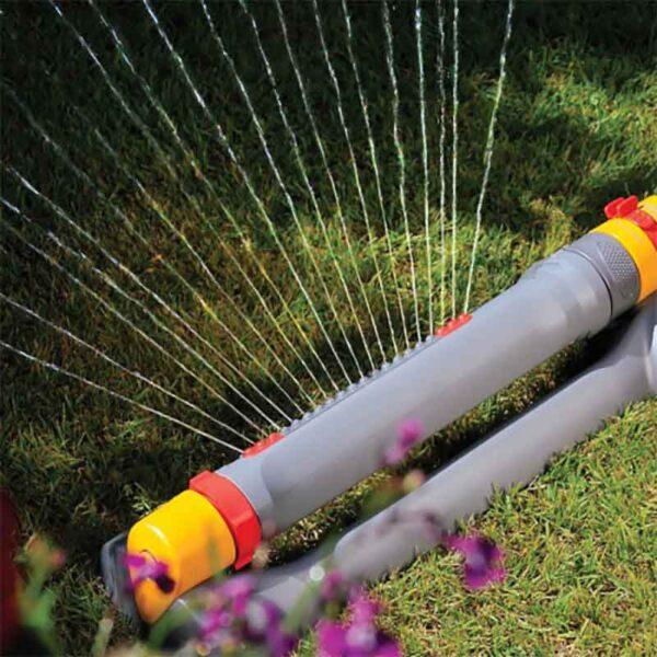Hozelock Rectangular Sprinkler Pro in use