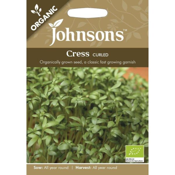 Johnsons Organic Cress Curled Seeds Packet 1 800 X 800