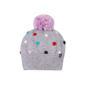 Joules Bella Pom Pom Knit Hat -Grey Marl