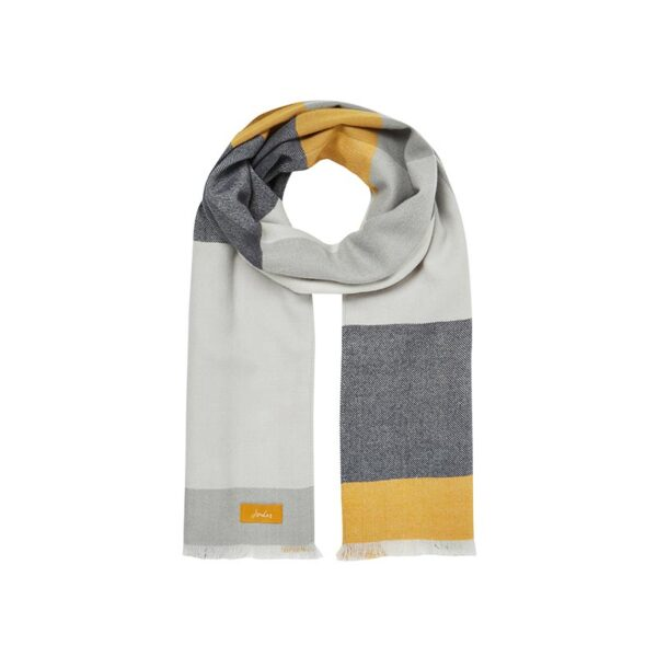 Joules Bridey Checked Scarf - Cream, Grey & Yellow Check 1