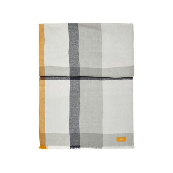 Joules Bridey Checked Scarf - Cream, Grey & Yellow Check 2