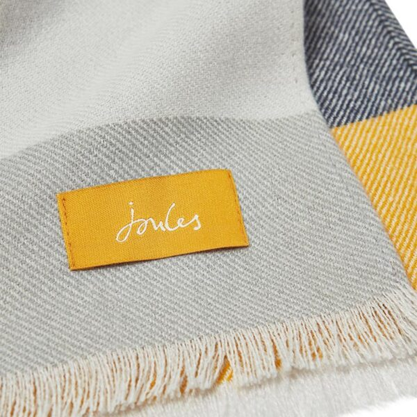 Joules Bridey Checked Scarf - Cream, Grey & Yellow Check 3