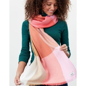 Joules Bridey Checked Scarf - Pink White Check lifestyle