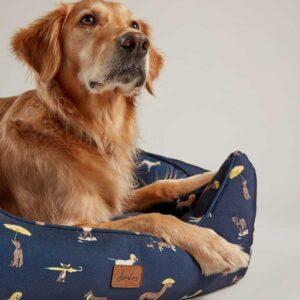 Joules Dog Print Box Dog Bed