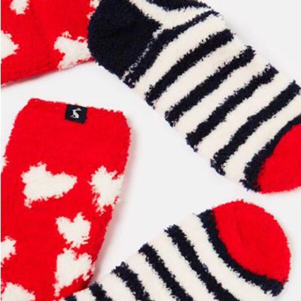 Joules Fabulous Fluffy Socks --Navy-Heart-Stripes 2
