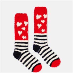 Joules Fabulous Fluffy Socks - Navy Heart Stripes