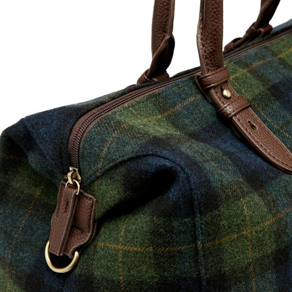 Joules Fulbrook Holdall Tweed Bag -Navy Green Check 2