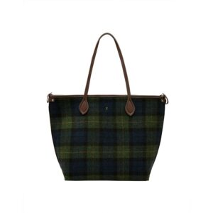 Joules Fulbrook Tote Tweed - Navy Green Check