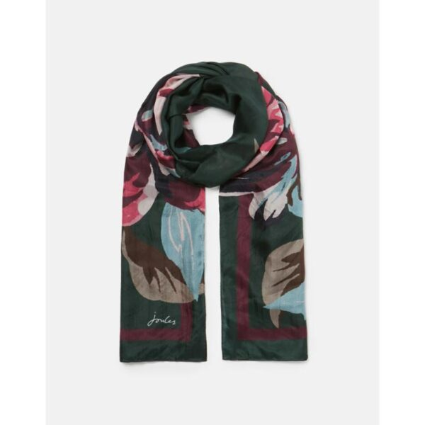 Joules Karin Silk Scarf - Green Pink Painterly Floral 1