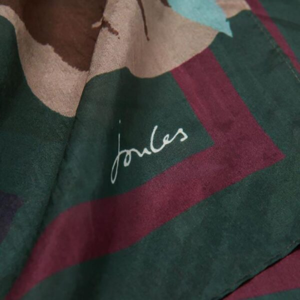 Joules Karin Silk Scarf - Green Pink Painterly Floral 3