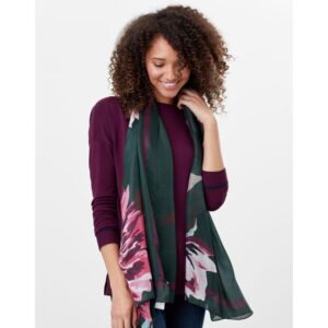 Joules Karin Silk Scarf - Green Pink Painterly Floral