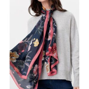 Joules Karin Silk Scarf - Navy Pink Floral