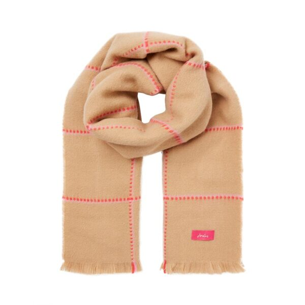 Joules Stamford Checked Scarf - Camel Pink Check 1