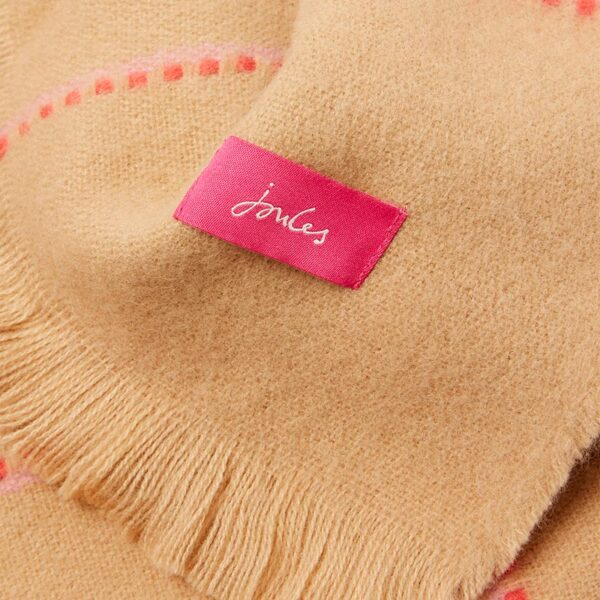 Joules Stamford Checked Scarf - Camel Pink Check 2