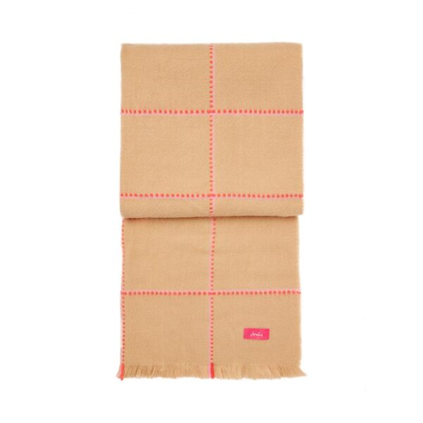 Joules Stamford Checked Scarf - Camel Pink Check 3