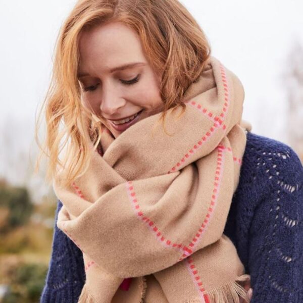 Joules Stamford Checked Scarf - Camel Pink Check