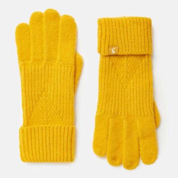 Joules Thurley Knitted Gloves Gold 1