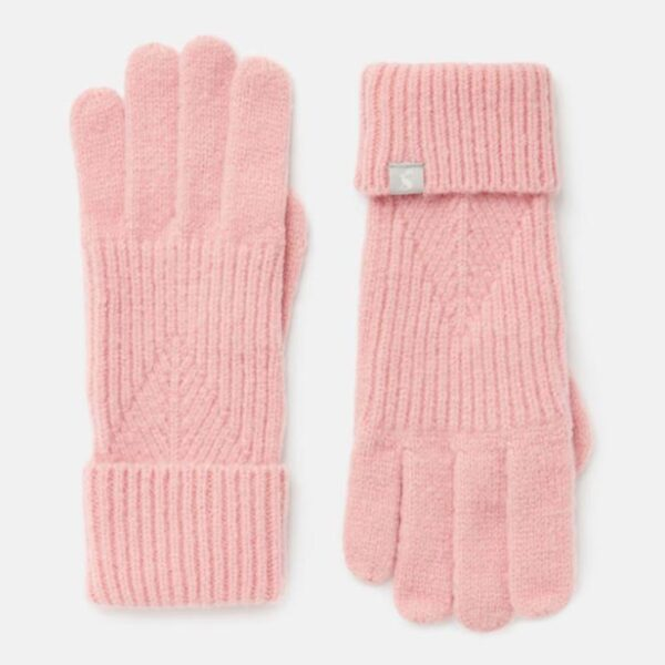 Joules Thurley Knitted Gloves Pale Pink 1