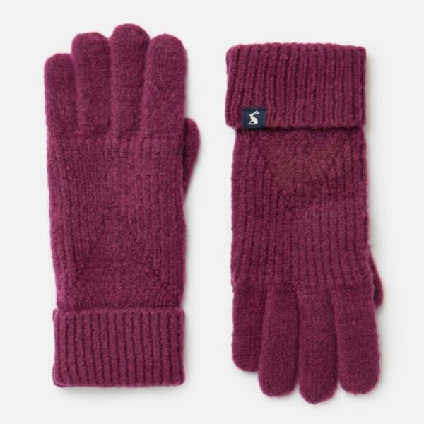 Joules Thurley Knitted Gloves Plum 1