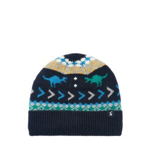 Joules Toasty Fairisle Hat - Navy Dino