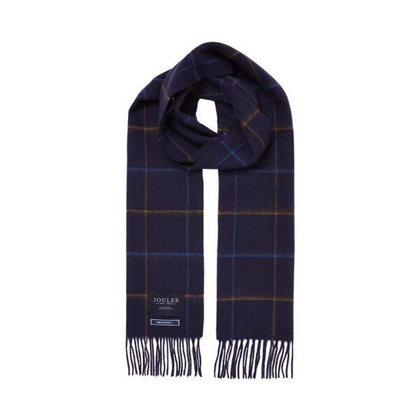 Joules Tytherton Wool Checked Scarf Navy Yellow Check 1