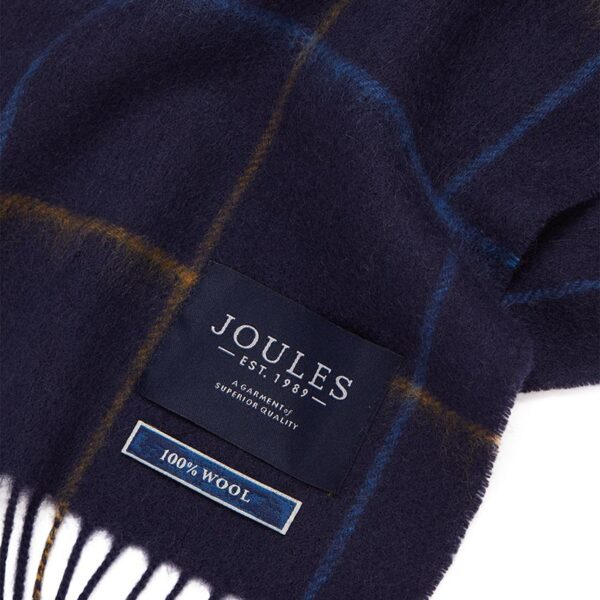 Joules Tytherton Wool Checked Scarf Navy Yellow Check 3