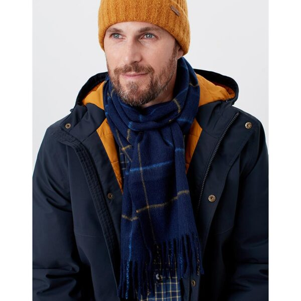 Joules Tytherton Wool Checked Scarf Navy Yellow Check