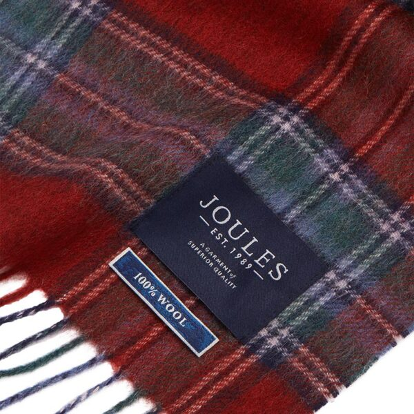 Joules Tytherton Wool Checked Scarf - Red Marl Check 1