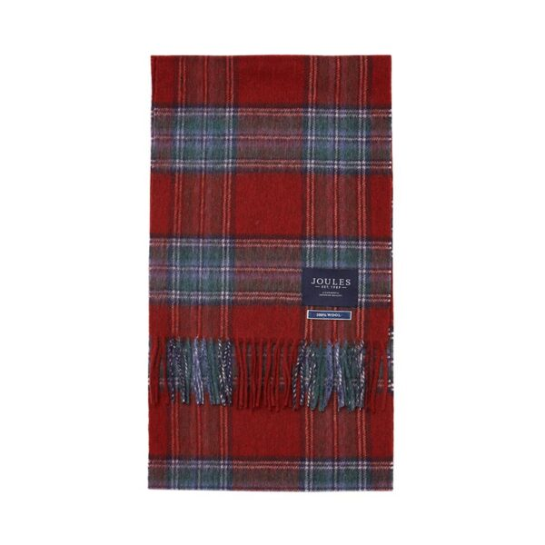 Joules Tytherton Wool Checked Scarf - Red Marl Check 2
