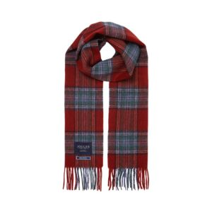Joules Tytherton Wool Checked Scarf - Red Marl Check