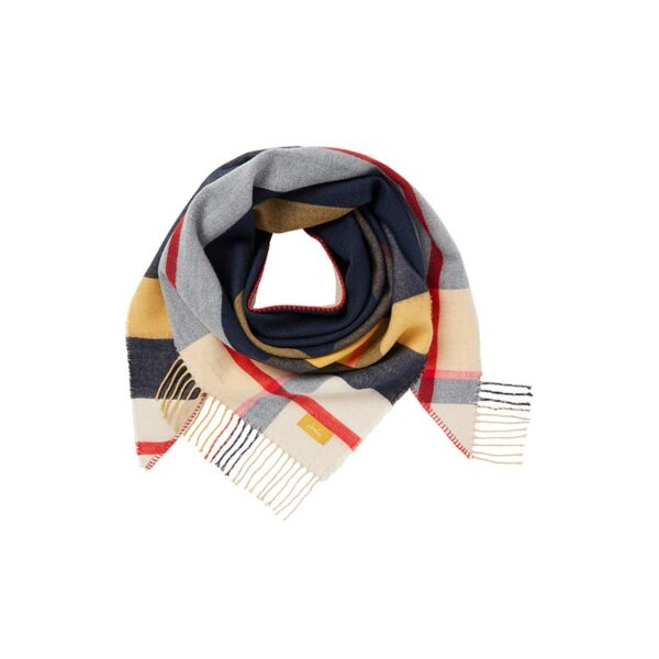 Joules Wilstow Triangle Checked Scarf - Navy Gold Check 1