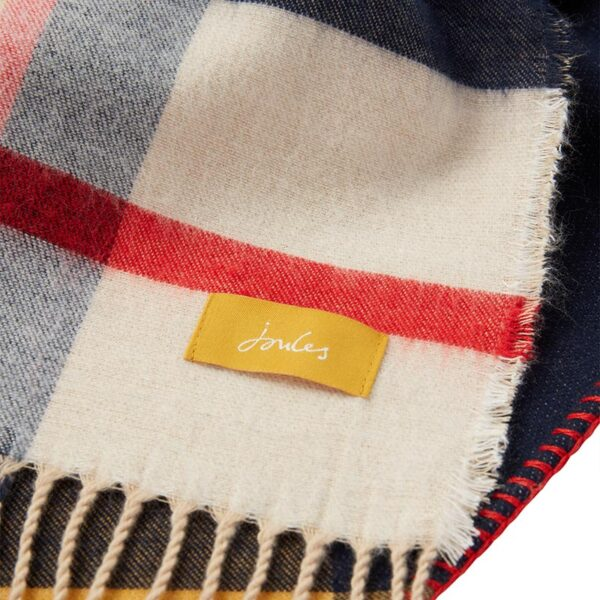 Joules Wilstow Triangle Checked Scarf - Navy Gold Check 2