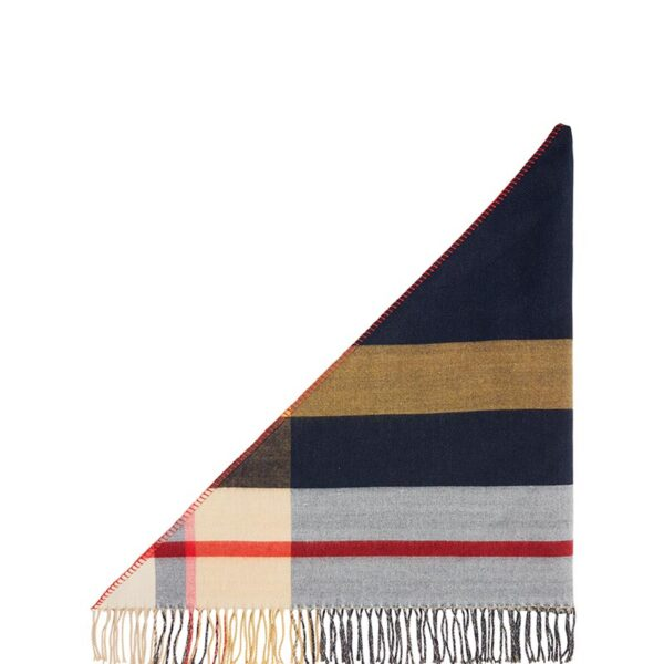 Joules Wilstow Triangle Checked Scarf - Navy Gold Check 3