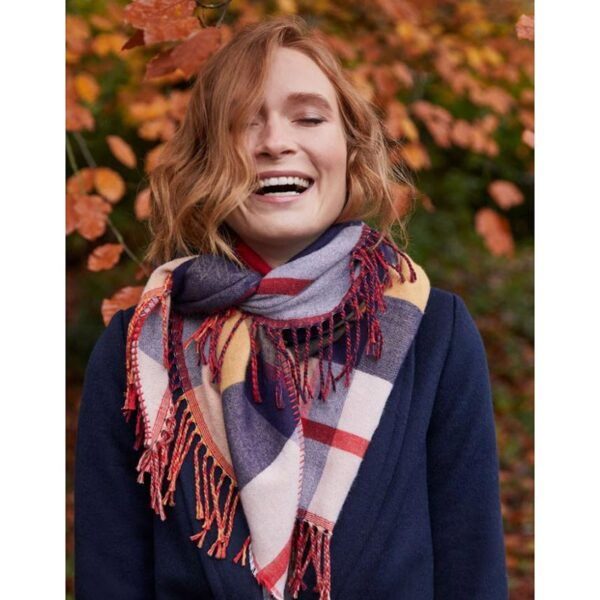 Joules Wilstow Triangle Checked Scarf - Navy Gold Check