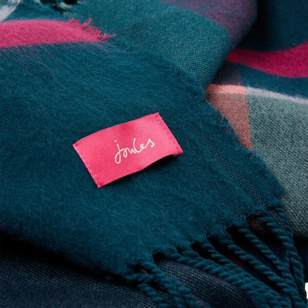 Joules Wilstow Triangle Checked Scarf - Navy Pink Check 2