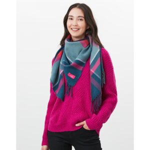 Joules Wilstow Triangle Checked Scarf - Navy Pink Check 4