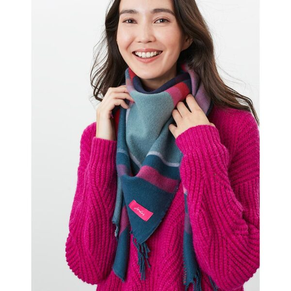 Joules Wilstow Triangle Checked Scarf - Navy Pink Check