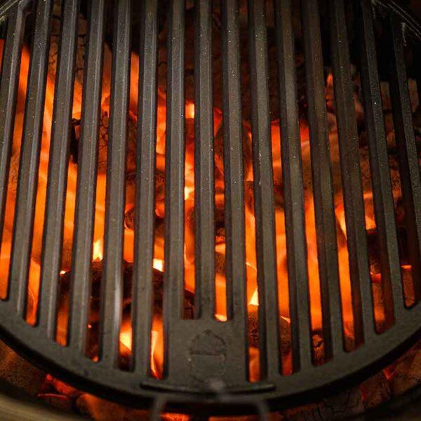 Kamado Joe Sear Plate for Classic I & Joe Jr. with hot charcoal